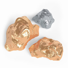 Gold and silver nuggets on a white background. 3d rendering