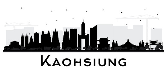 Kaohsiung Taiwan City Skyline Silhouette with Black Buildings Isolated on White.