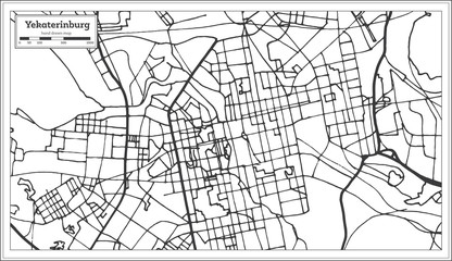 Yekaterinburg Russia City Map in Retro Style. Outline Map.