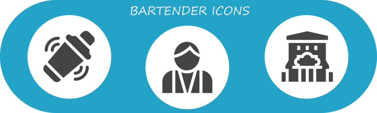 Vector icons pack of 3 filled bartender icons