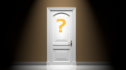 A mystery, secret or enigma, hidden answer for a question, symbolized by a door with a quesion mark in a bright light and deep shadow., 3d illustration