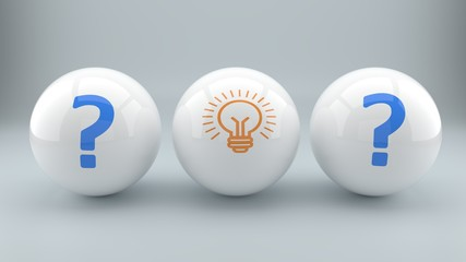 Solution, answer, bright idea, answer to a problem symbolized by three balls with a light bulb and question marks, part 1, 3d illustration