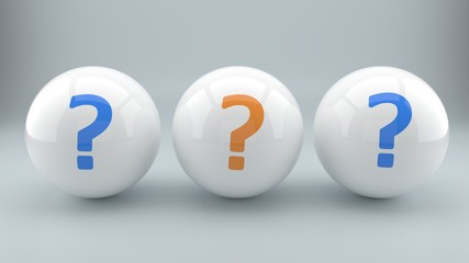 Choices, options and questions pictured as question marks painted on three shiny balls, part 7 of series, 3d illustration