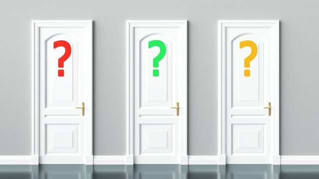 Choice, option, selection, questions symbolized by three doors with question marks, 3d illustration