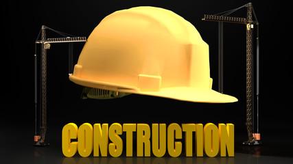 Construction symbol and sign - helmet cranes and construction logo symbolizes safety in a construction site, dark background., 3d illustration