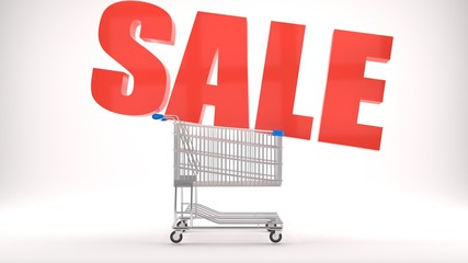 Sale sign, discounts, bargains and promotional offers pictured as a shopping cart with a big red sale logo, isolated, white background, part 1 of series, 3d illustration