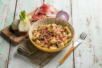 pasta with speck fennel and onion