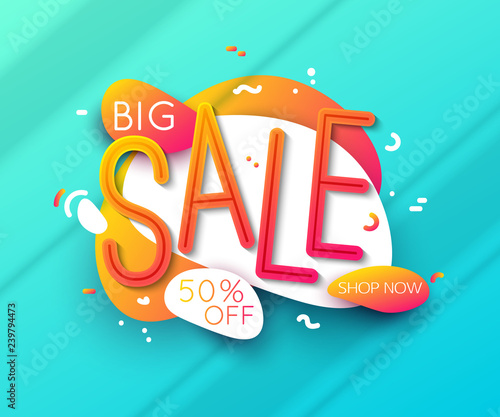 681910da6 Sale banner template design, big sale for online shopping vector  illustration