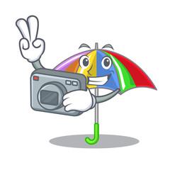 Photographer rainbow umbrella in chracter that fun