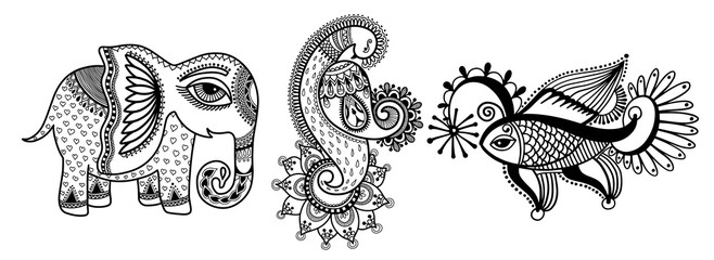 set of three hand drawing animals - elephant, peacock and fish