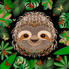 Sloth. Head, face, portrait. Gray fur. Cartoon style. Animal smiles. Frame of jungle leaves.