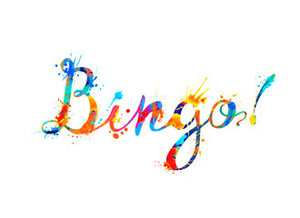 Bingo. Watercolor splash paint inscription