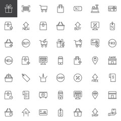 Online Shopping outline icons set. linear style symbols collection, line signs pack. vector graphics. Set includes icons as Gift box, Barcode, Trolley Cart, Discount Coupon, Sale price tag, new basket