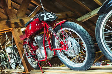 Close up moto au look vintage