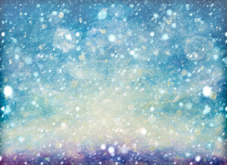 Natural Winter Christmas background with sky, heavy snowfall, snowflakes in different shapes and forms, snowdrifts. Winter landscape with falling christmas shining beautiful snow oil painting