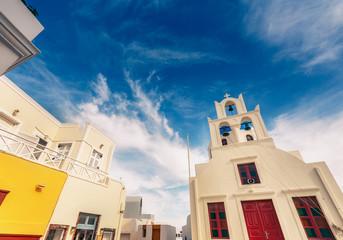 Church in Oia, Santorini island in Greece, on a sunny day.