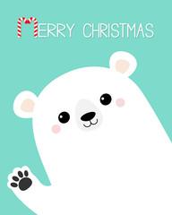 Merry Christmas. White polar bear waving hand paw print. Cute cartoon funny kawaii baby character. Happy New Year. Greeting Card. Flat design. Blue background. Greeting card.