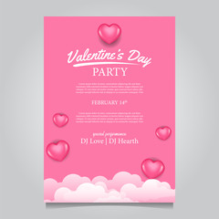 Valentine party poster with 3D hearth shape pink balloon template. vector illustration