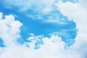 Beautiful fluffy white clouds with blue sky, Nature background.