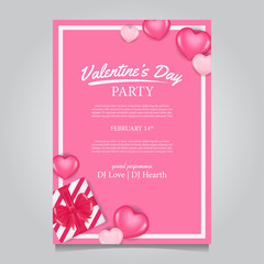 Valentine party poster template with 3D pink hearth. Vector illustrator