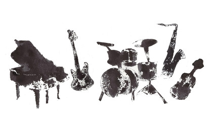 musical instruments, black and white graphics, abstraction