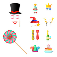 Isolated object of party and birthday sign. Set of party and celebration vector icon for stock.