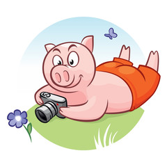 Piggy with camera takes pictures of flower and butterfly