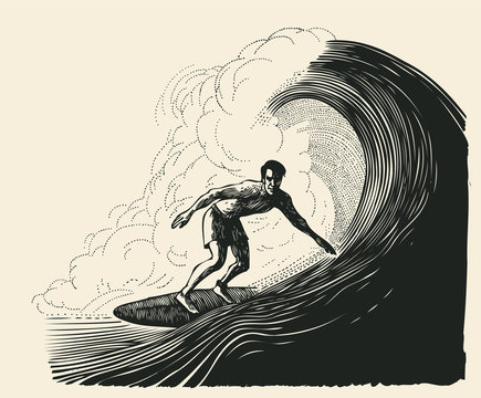 surfer and big wave. engraving style. vector illustration.