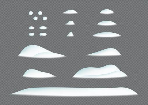 Snow Pile Winter Snowdrift 3d Illustration Vector Elements Set