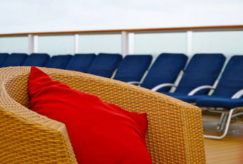 Cruise ship deck chairs and loungers
