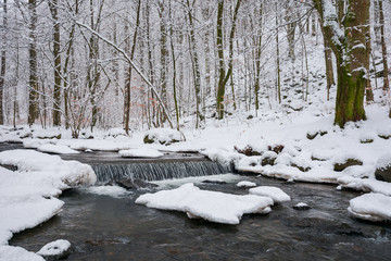 small cascade on the forest creek in winter. beautiful nature scenery