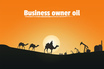 Photo sur Toile Rouge Business owner oil, Silhouette of camel riders in the desert