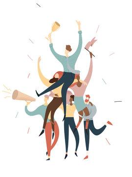 creative team work of men and women winning trophy, vector illustration business concept , successful dream team