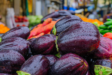 Eggplants displayed for sale in the market