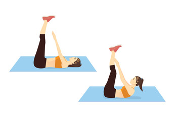 Woman doing Toe Touch Crunches Exercise in 2 step for guide. Illustration about introduction workout posture. Wall mural