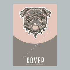 Card template with portrait of a cheerful dog. Vector illustration