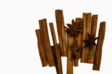 sticks of cinnamon star anise Brown isolate on a white background close-up