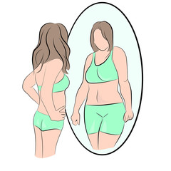 slim girl looks in the mirror and sees himself fat. vector illustration.