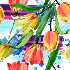 Yellow tulips. Floral botanical flower. Frame border ornament square.
