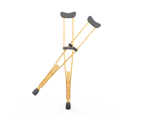 3d illustration 3d pair of crutches orthopedic equipment on white background