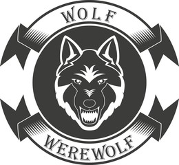A wolf with a banner and text in black and white for tattoo and sticker. Werewolf