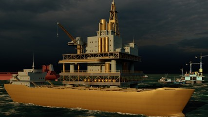 Offshore oil and gas rig platform 3d rendering