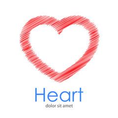Logotipo con texto Heart con corazón lineal con garabatos en color rojo