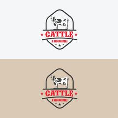 Cattle Farming logo designs badge vector, Farming badge logo