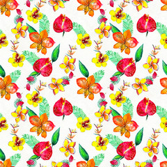 Seamless pattern With Tropical Flowers. Watercolor Background