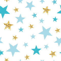 Doodle star seamless pattern background. Blue gold stars Abstract gold glitter stars seamless texture