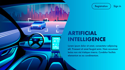 Artificial Intelligence Car Cockpit Landing Page