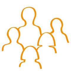 Handgezeichnetes Team-Symbol in orange