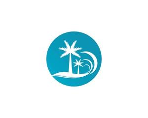 Palm trees summer logo design vector