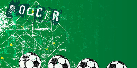 Soccer or football design template, with tactics diagram grunge style, free copy space